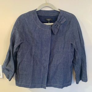 Talbots navy/jean jacket with bow - never worn